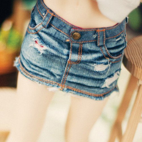 SD13 Girl Real Vintage Denim Washing Skirt - Blue
