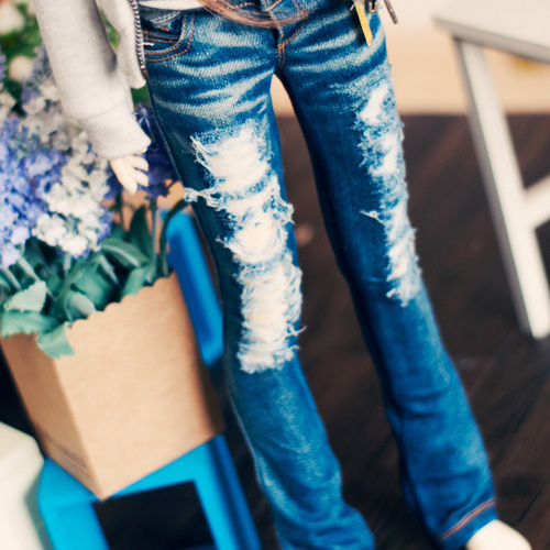 SD13 Girl Destroyed Washing Boot Cut Jeans - Blue