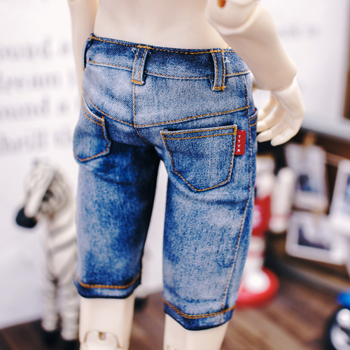 SD17 Washing Slim Short Pants - Blue