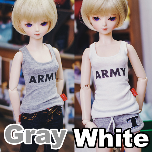 MSD ARMY Sleeveless - Gray, White
