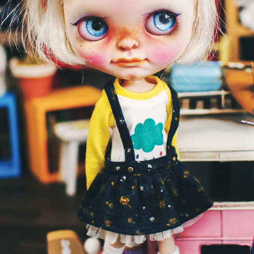 Blythe Flower Overall Skirts - Navy