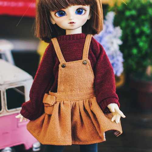 USD Cotton Overall Skirt - L.Brown