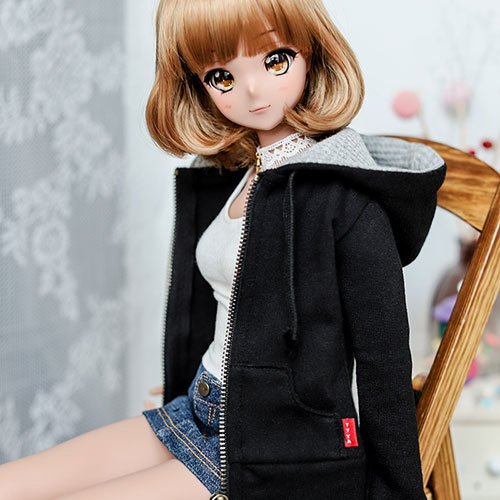 SD13 Girl & Smart Doll Basic Zip­up Hooded T - Black