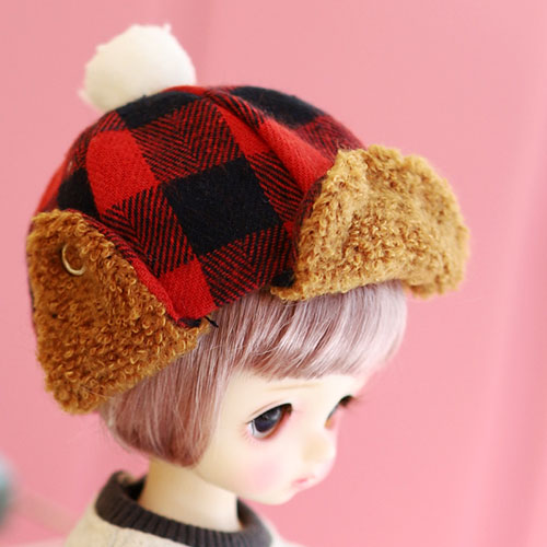 USD Checked winter hat - Red