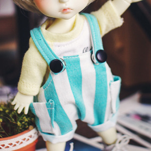 Stripe Baggy Short Overalls - Mint
