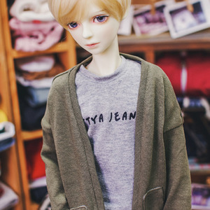 SD13 Boy Natural Deep Slit Long Cardigan - Khaki
