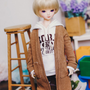 MSD Natural Deep Slit Long Cardigan - Brown