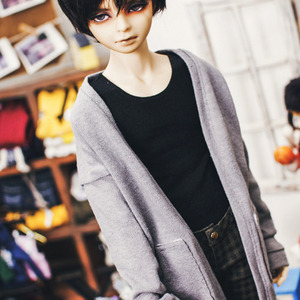 SD17 Boy Natural Deep Slit Long Cardigan - Gray