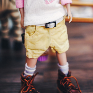 Blythe Washing Baggy Cotton Short Pants - Yellow