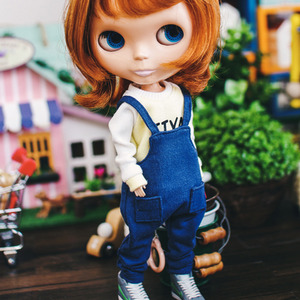 Blythe Baggy Cotton Overall  - Blue