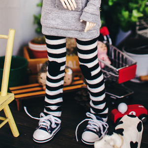 Bunny Horizontal Line Leggings - Black