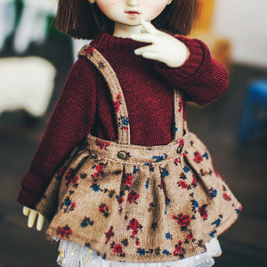 USD Flower Pattern Overall Skirt - Brown