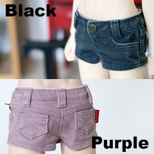 MSD Washing Cotton Hot Pants - Black & Purple