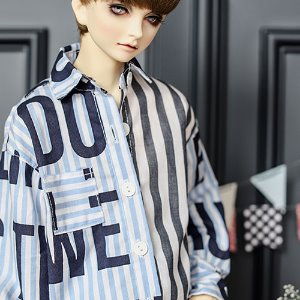 SD13 Boy Lettering Stripe Shirt - Blue
