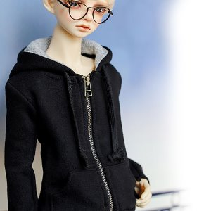 SD13 Boy Basic Zipup Hooded T - Black