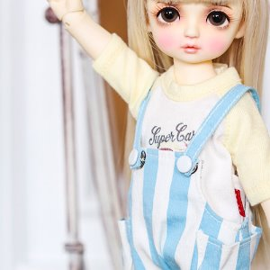 USD Stripe Baggy Short Overalls - Sky