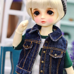 USD Stone Washing Vest Denim Jacket - Blue