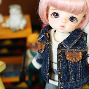 Stone Washing Vest Denim Jacket - Blue