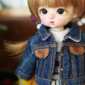 Stone Washing Denim Jacket - Blue