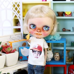 Blythe Angry Boy T shirt - White