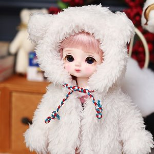 Bear hooded fer jacket - White