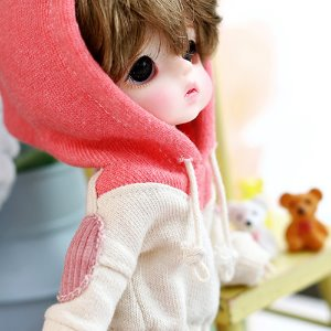 Two-color colouring hooded T - Pink