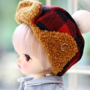 16CM Checked winter hat - Red