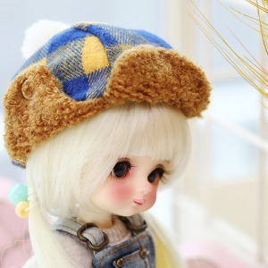 16CM Checked winter hat - Yellow