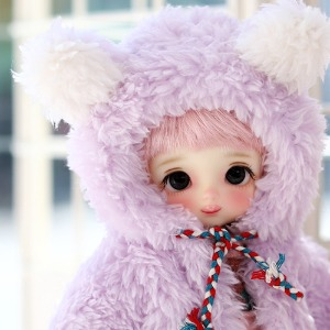 16CM Bear hooded fer jacket - Purple