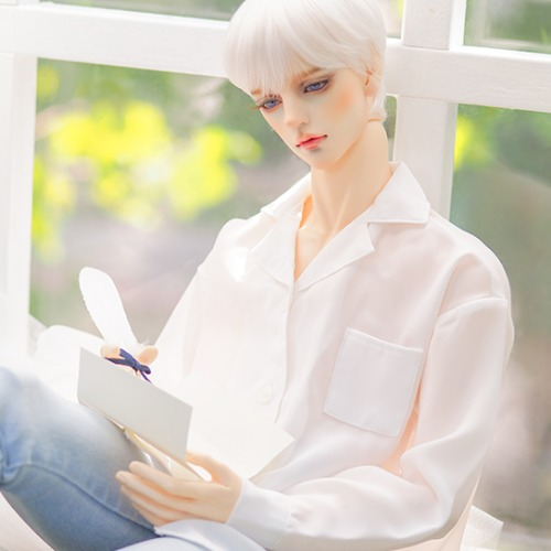[ID75]Open collar shirt(White)