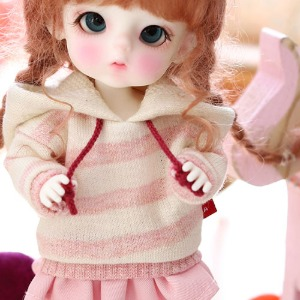 16CM Loose fit coloration Hooded-Pink