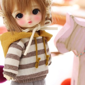 16CM Loose fit coloration Hooded-Brown