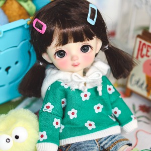 16cm Little Daisy Hooded-T - Green